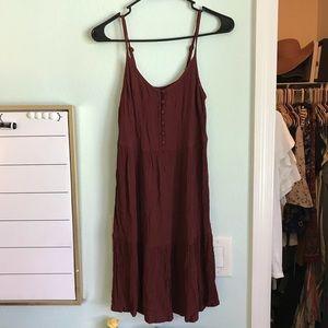Brick Red Button Babydoll Dress